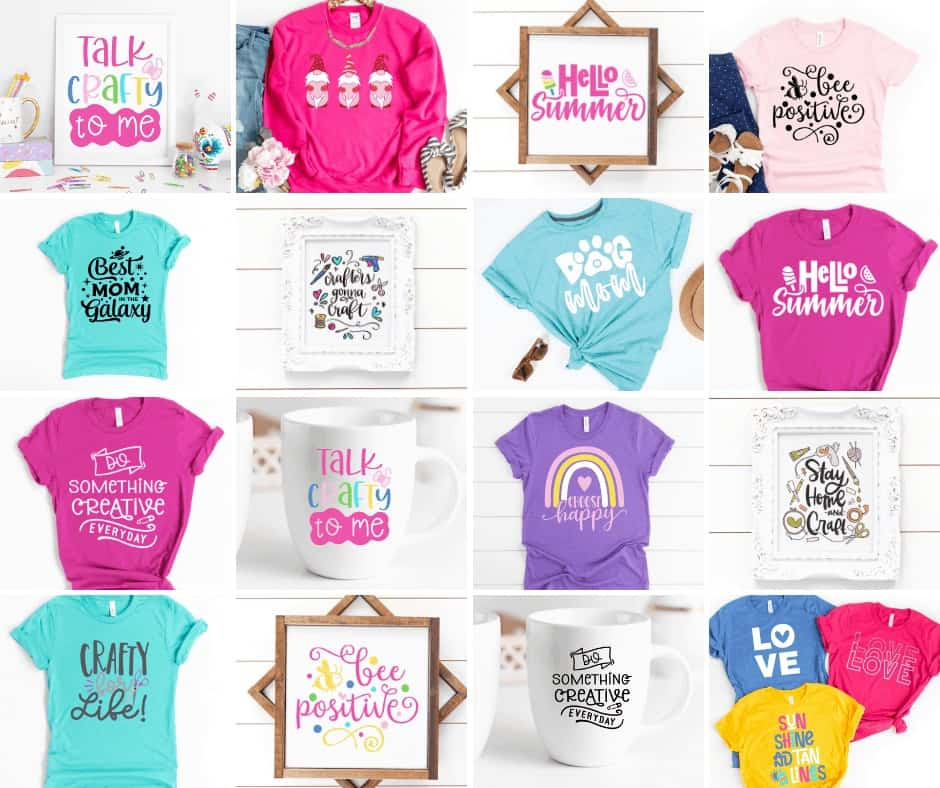 How to Upload SVG Files to cricut | How to Upload SVG to Design Space by popular US craft blog, Sweet Red Poppy: collage image of shirts and art prints with SVG designs.