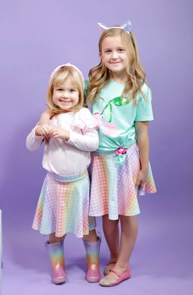 Circle Skirt by popular US sewing blog, Sweet Red Poppy: image of two girls wearing circle skirts.