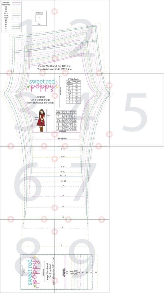 Leggings Pattern by popular US sewing blog, Sweet Red Poppy: image of a kids leggings pattern printable.