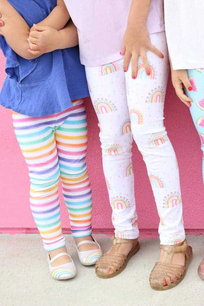Leggings Pattern by popular US sewing blog, Sweet Red Poppy: image of young girls wearing stretchy knit leggings.