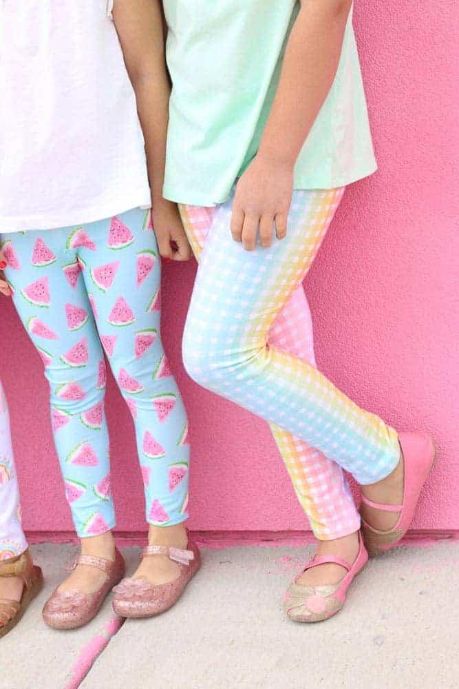 Leggings Pattern by popular US sewing blog, Sweet Red Poppy: image of two girls wearing kids knit leggings.