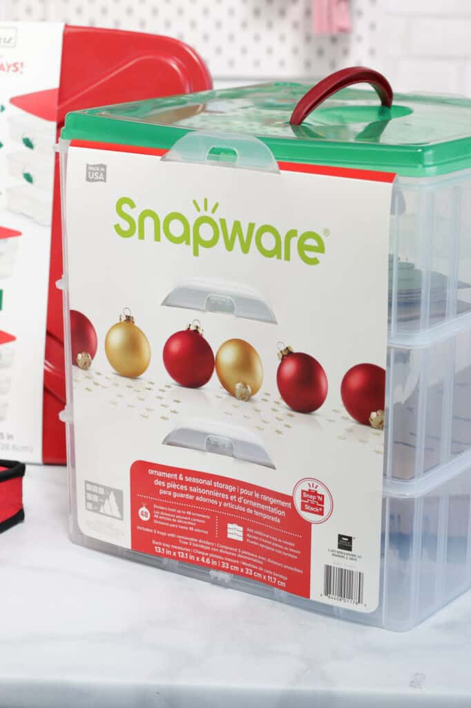 Joann Christmas Storage by popular US craft blog, Sweet Red Poppy: image of a Snapware container.