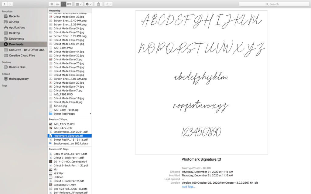 How to Upload a Font to Cricut by popular US craft blog, Sweet Red Poppy: screenshot of cursive text on a page.