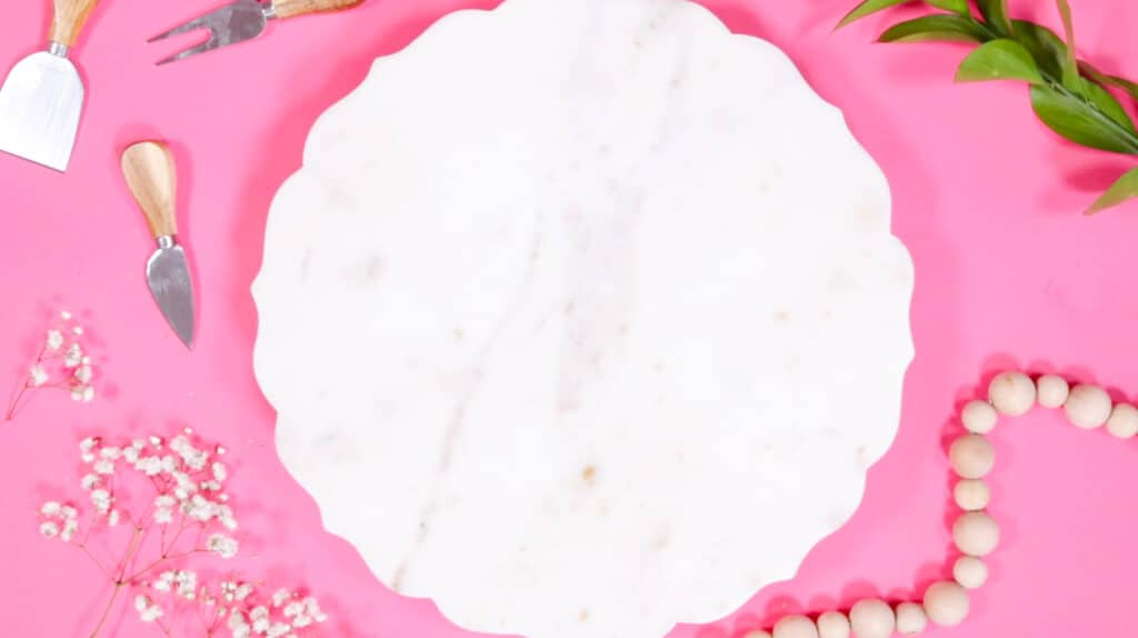 Valentine's Day Charcuterie Board by popular Utah craft blog, Sweet Red Poppy: image of a white marble board.