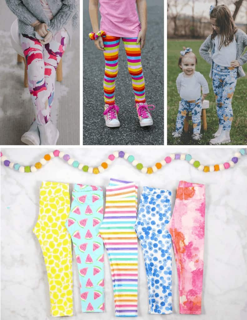 Free Toddler Leggings Sewing Pattern   Leggings Pattern by popular US sewing blog, Sweet Red Poppy: image of various kids knit leggings.