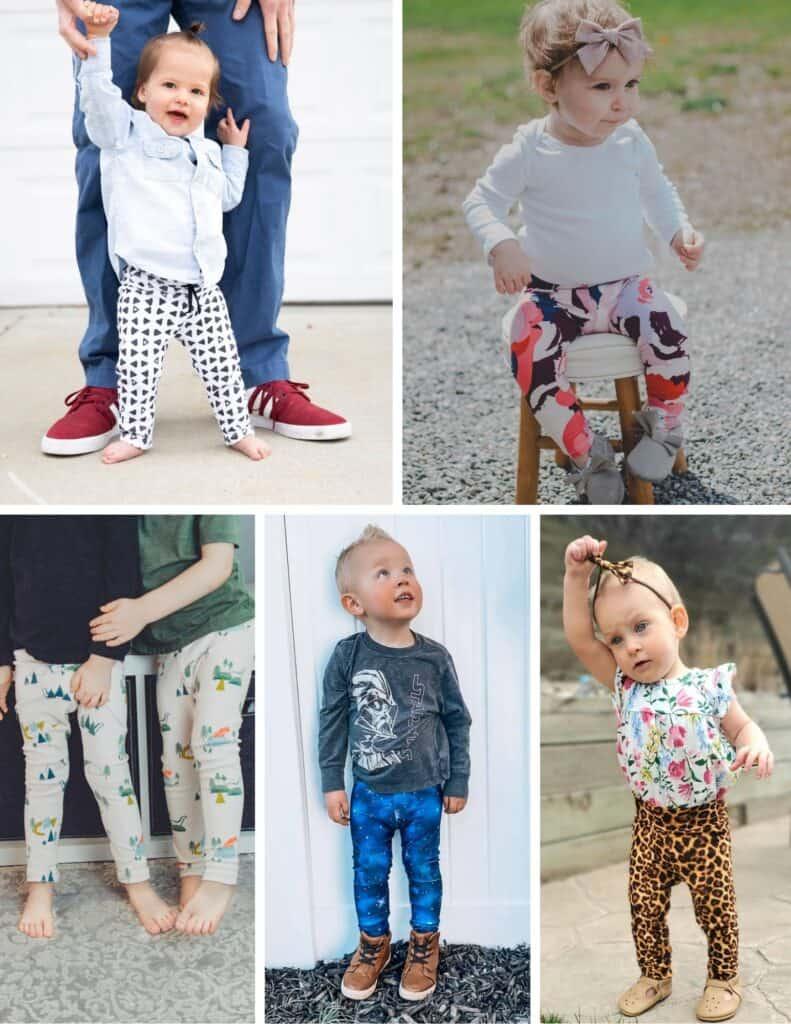 Sweet Red Poppy Free Leggings Sewing Pattern |Leggings Pattern by popular US sewing blog, Sweet Red Poppy: collage image of kids wearing knit leggings.