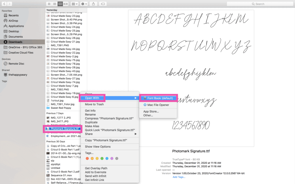 How to upload a font to Cricut Design Space |How to Upload a Font to Cricut by popular US craft blog, Sweet Red Poppy: screenshot of cursive text on a page.
