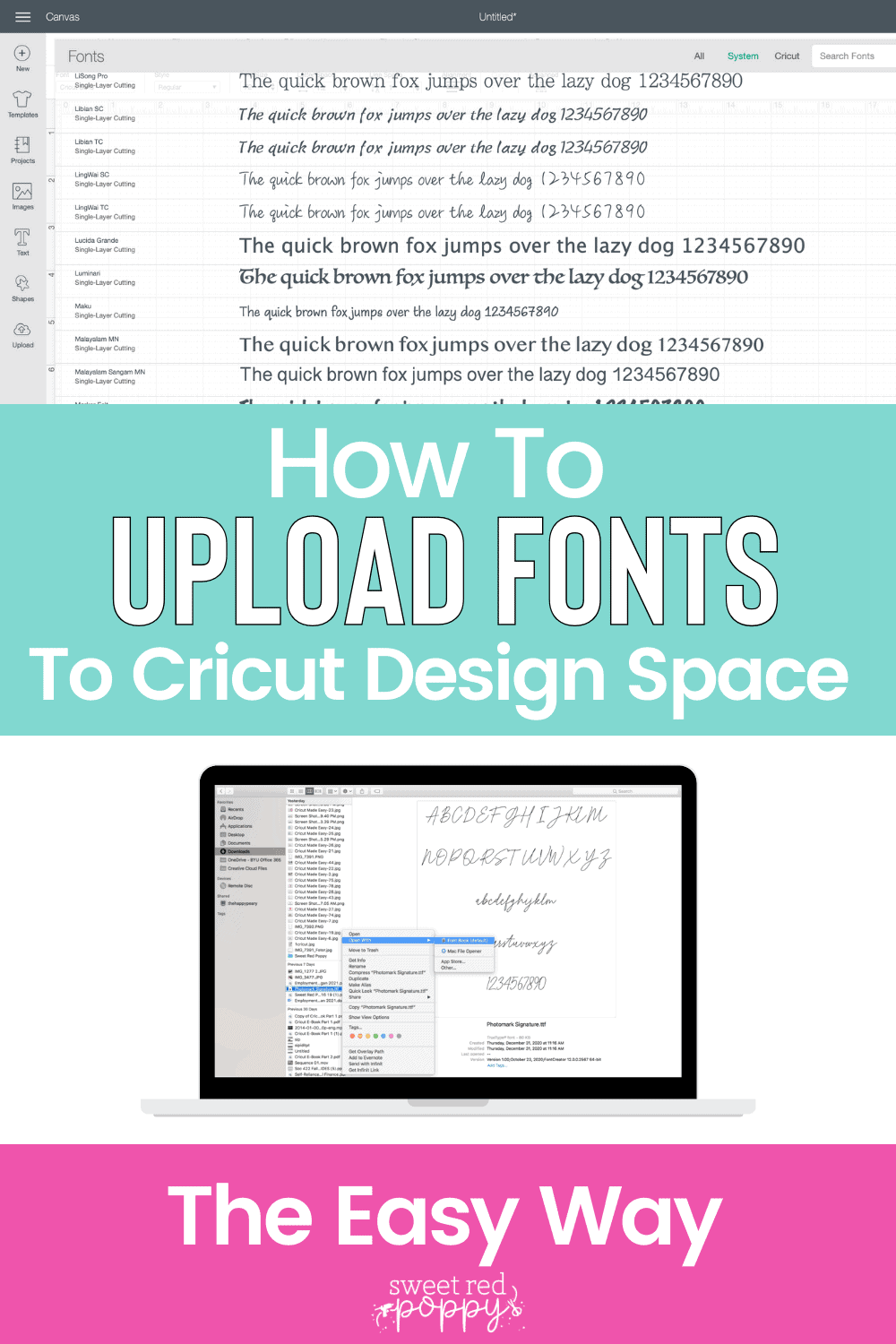 Learn How to Find High-Quality Fonts, Download a Font and Upload a Font to Cricut Design Space.