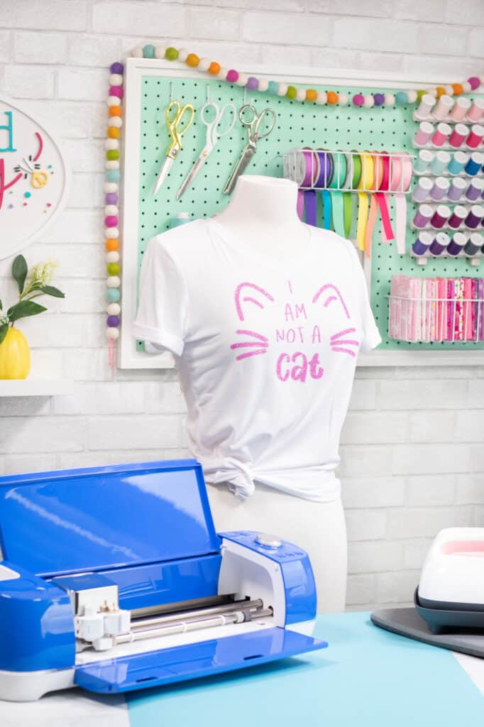 I'm not a cat SVG file | SVG Files by popular US craft blog, Sweet Red Poppy: image of a I am Not a Cat t-shirt on a mannequin.