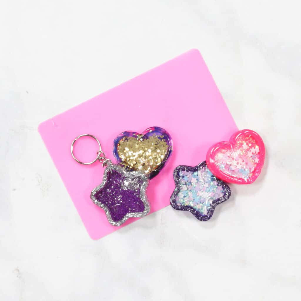 UV Resin by popular US craft blog, Sweet Red Poppy: image of star and heart shaped resin shakers.