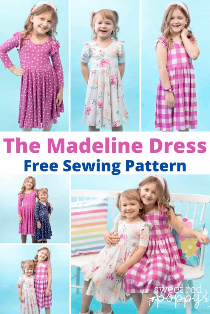 Learn How to Sew a Little Girl's Dress From Knit Fabric With This Free Printable PDF Sewing Pattern, Tutorial, and Video. Sizes Preemie Through Girls Size 12.   Circle Skirt Dress Pattern by popular Utah sewing blog, Sweet Red Poppy: Pinterest image of two girls wearing circle skirt dresses.