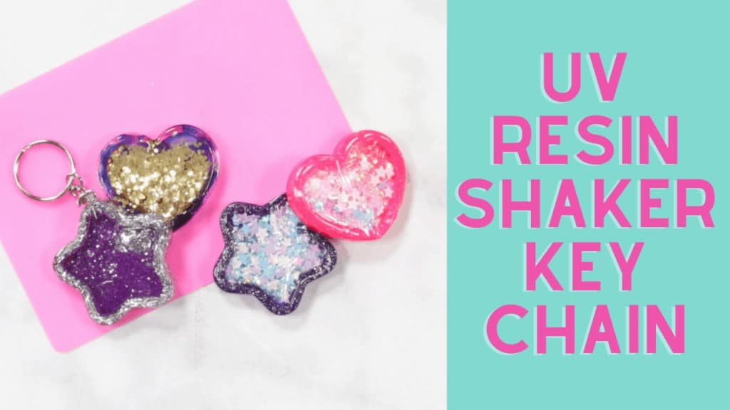UV Resin by popular US craft blog, Sweet Red Poppy: Pinterest image of UV resin shaker keychains.