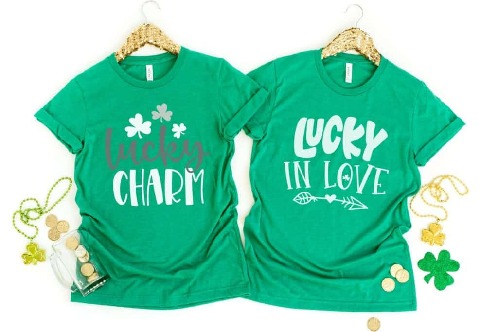 FREE St Patricks Day SVG Files for Cricut |FREE St. Patricks Day SVG Files |St. Patrick's Day SVG Files by popular US craft blog, Sweet Red Poppy: collage image of t-shirts with St. Patrick's Day graphics.