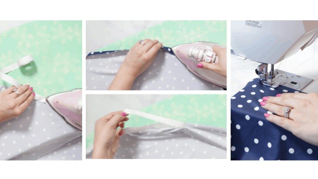 Circle Skirt Hem Method #2  Circle Skirt Dress Pattern by popular Utah sewing blog, Sweet Red Poppy: image of a woman sewing a circle skirt.