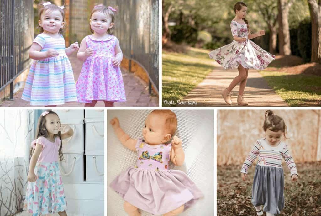Free PDF Sewing Pattern. Little Girl Dress Patterns Free   Circle Skirt Dress Pattern by popular Utah sewing blog, Sweet Red Poppy: image of two young girls wearing circle skirt dresses.
