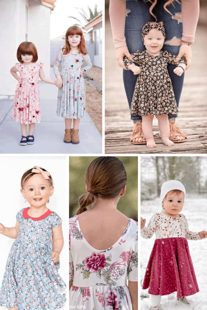 Sweet Red Poppy Madeline Dress. Circle Skirt Dress with Flutter Sleeves. Free Sewing Pattern Girls Dress Patterns Free   Circle Skirt Dress Pattern by popular Utah sewing blog, Sweet Red Poppy: image of young girls wearing circle skirt dresses.