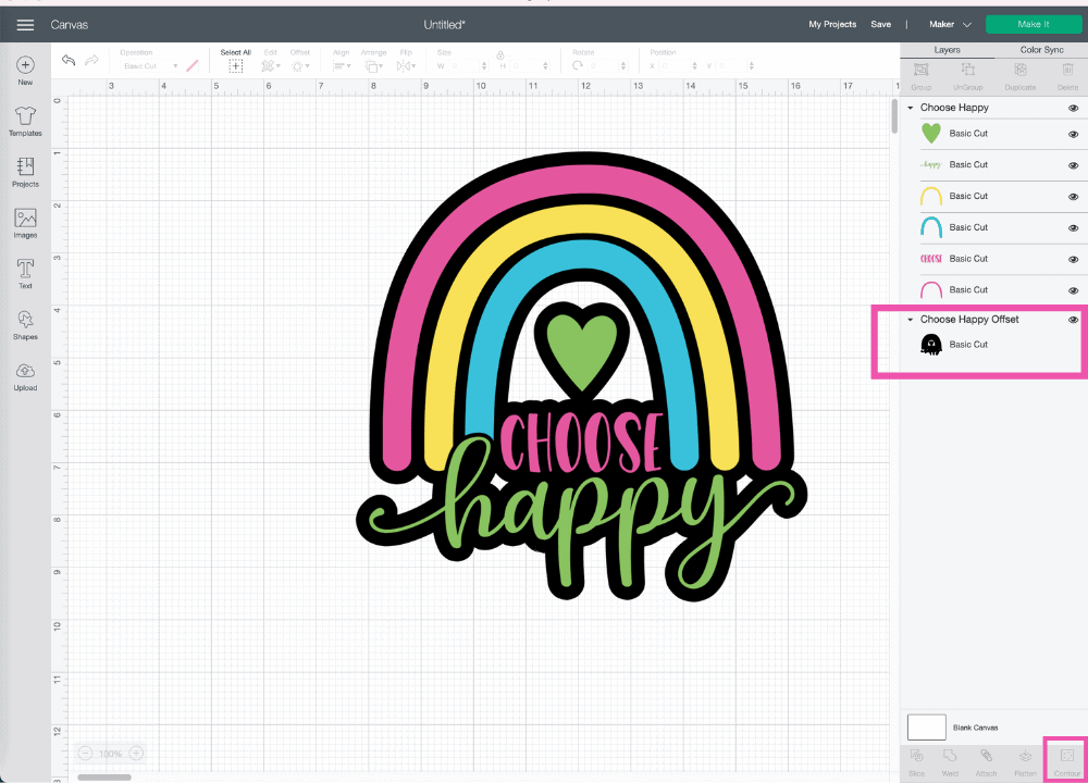 How to Use Offset by popular US craft blog, Sweet Red Poppy: image of a rainbow image in Cricut Design Space canvas.