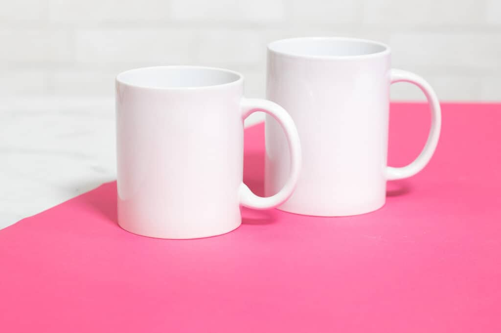 Cricut mug press review featured by top Cricut blogger, Sweet Red Poppy |Cricut Mug Press by popular US craft blog, Sweet Red Poppy: image of white ceramic mugs.