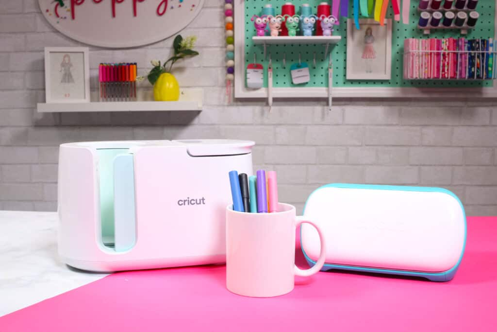 Cricut Infusible Ink Pens by popular US craft blog, Sweet Red Poppy: image of a white ceramic mug and Cricut mug press.