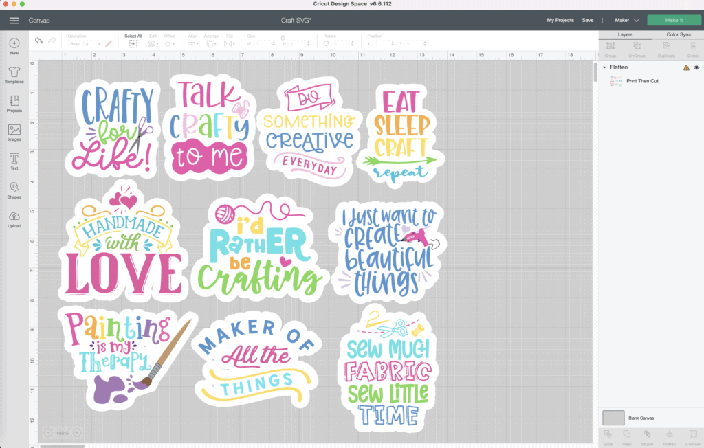 How to Use Offset by popular US craft blog, Sweet Red Poppy: image of Cricut Design Space.
