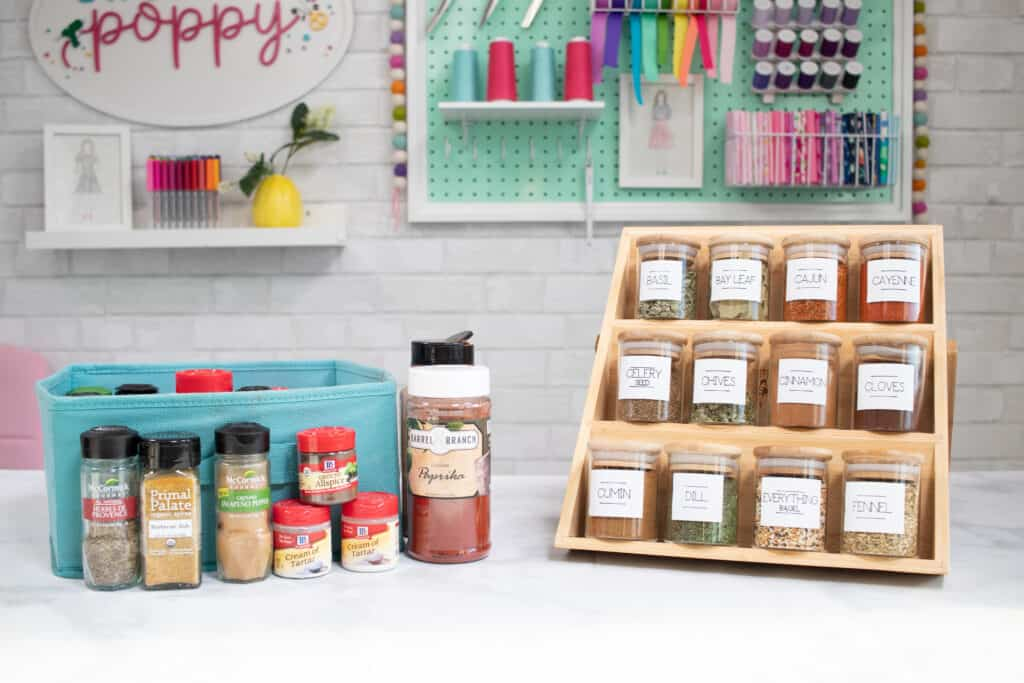 Organizing and labeling your spice jars.