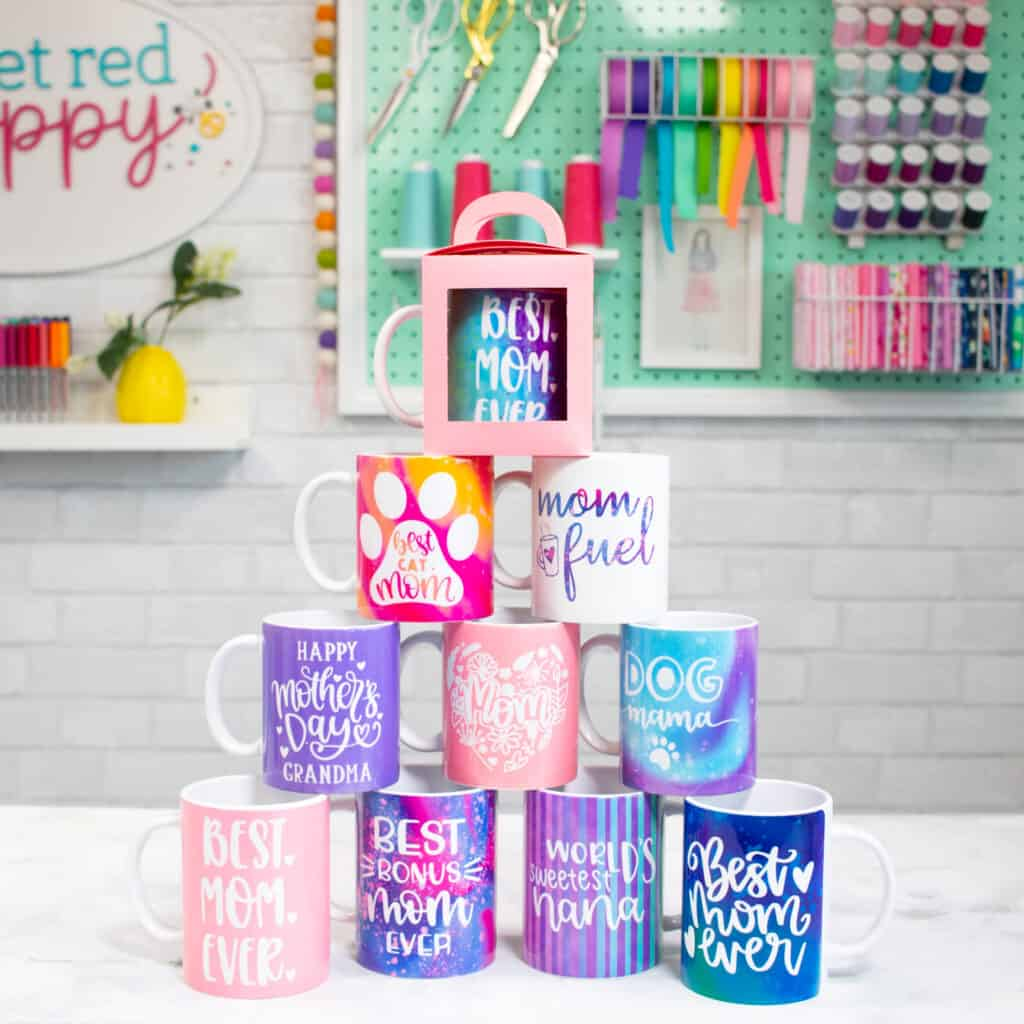 Mother's Day Cricut Mugs |Mother's Day Mug by popular US craft blog, Sweet Red Poppy: image of Cricut Mother's Day mugs.