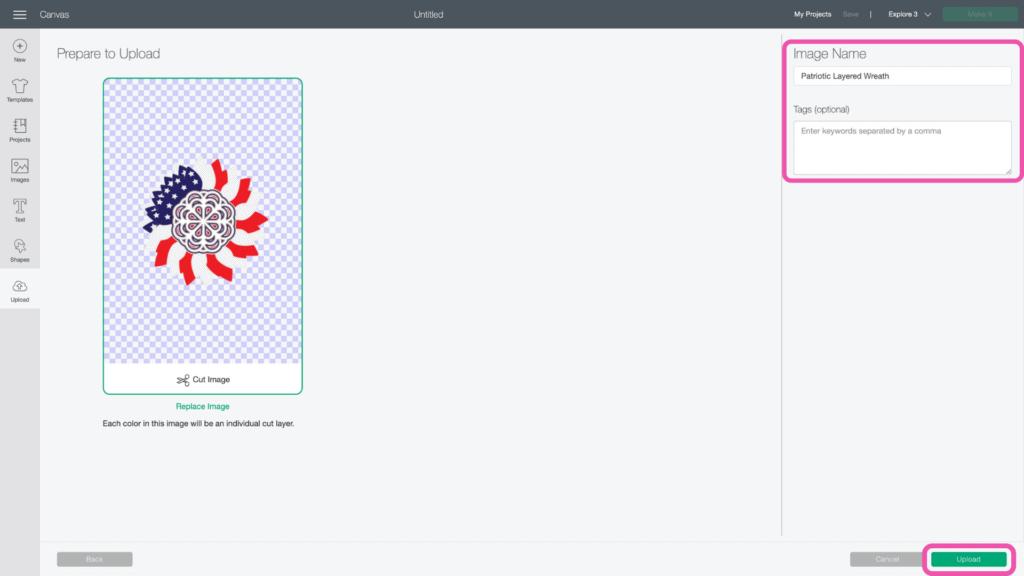 DIY 4. Juli Kranz vom beliebten US-Handwerksblog Sweet Red Poppy: Bild von Cricut Design Space.