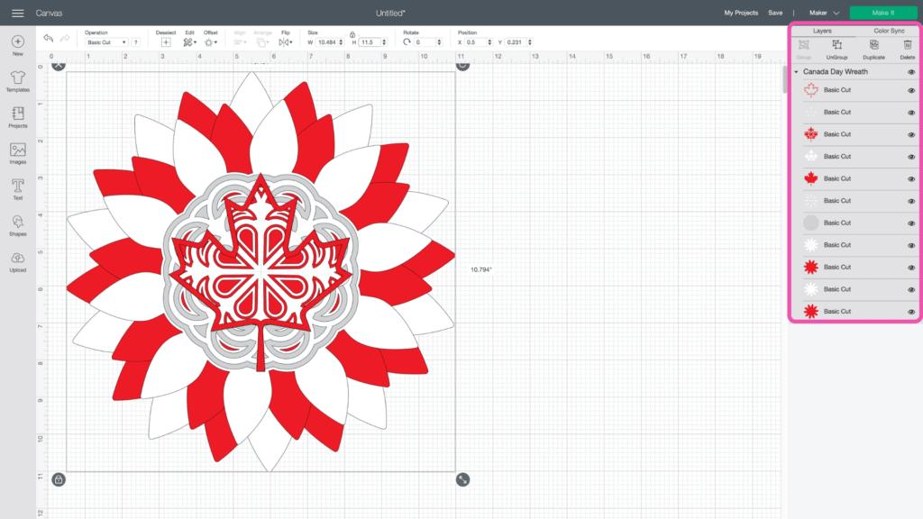 Canada Day Wreath vom beliebten US-Handwerksblog Sweet Red Poppy: Bild von Cricut Design Space.