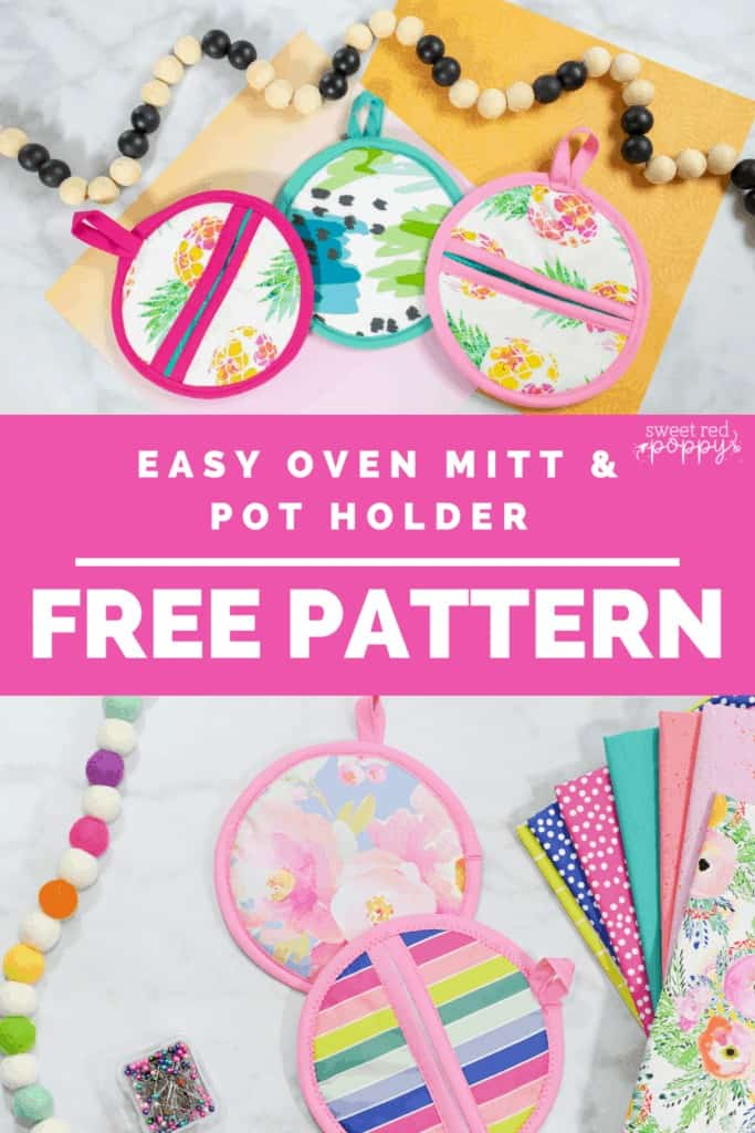 Oven Mitt Sewing Pattern by popular US sewing blog, Sweet Red Poppy: Pinterest image of oven mitts next to a wooden bead garland.