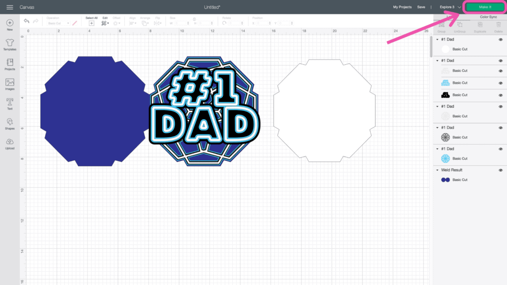 DIY Father's Day Card by popular US craft blog, Sweet Red Poppy: screenshot image of Cricut design space.