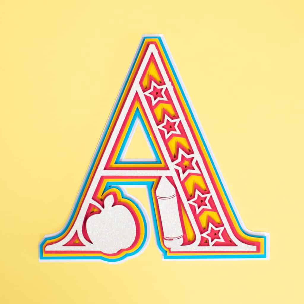 Layered Alphabet by popular US craft blog, Sweet Red Poppy: image of a layered alphabet letter A.