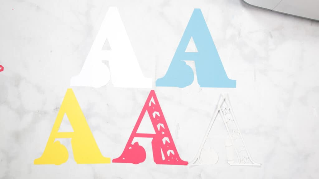 Layered Alphabet by popular US craft blog, Sweet Red Poppy: image of letter A cutouts.