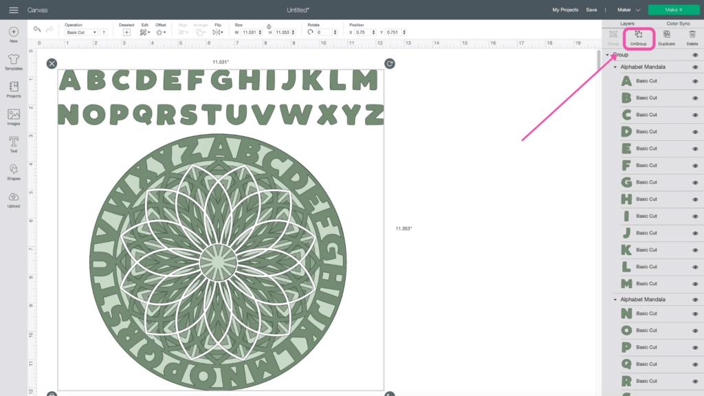 Alphabet Mandala vom beliebten US-Handwerksblog Sweet Red Poppy: Bild des Cricut-Designraums.