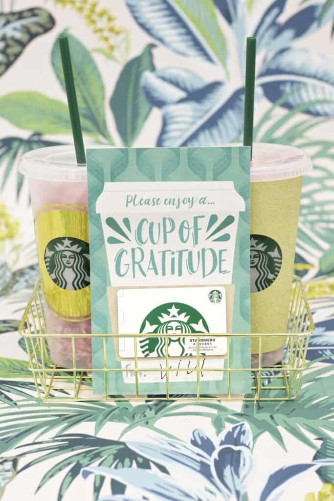 Teacher Gift by popular US craft blog, Sweet Red Poppy: image of a back to school coffee teacher gift card leaning against some Starbuck's cups in a gold wire basket.