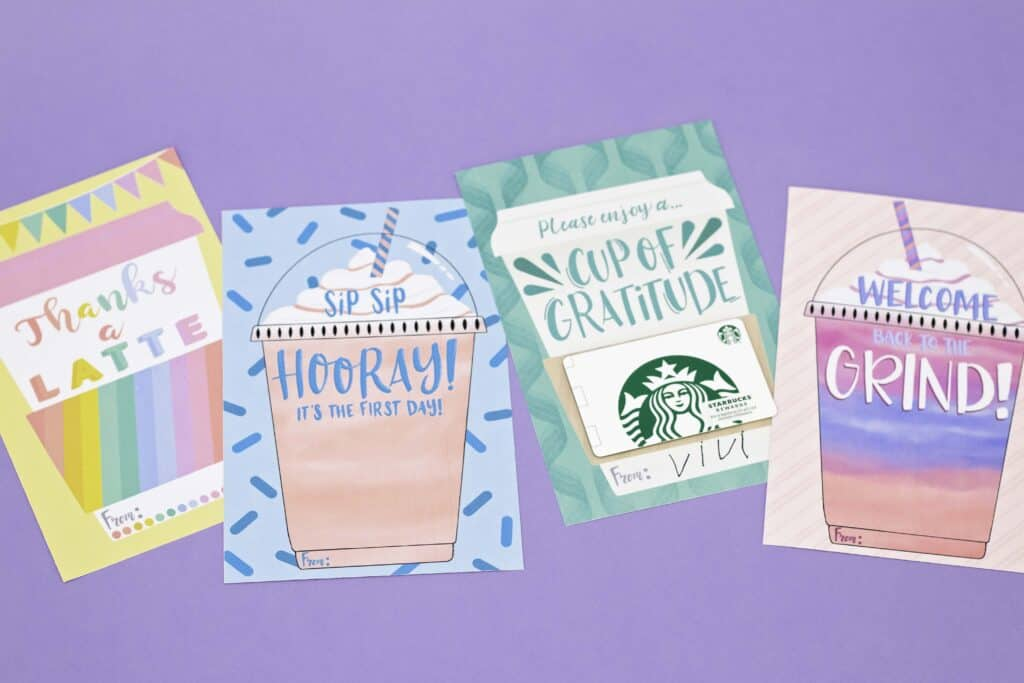 Teacher Gift by popular US craft blog, Sweet Red Poppy: image of various coffee themed teacher gift cards.
