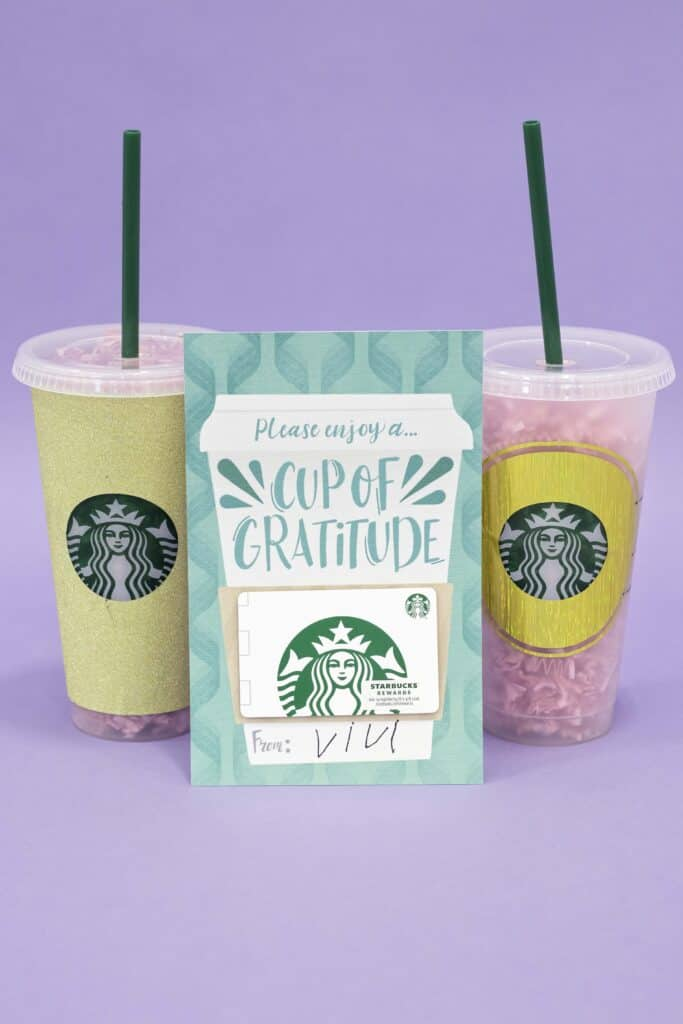 Teacher Gift by popular US craft blog, Sweet Red Poppy: image of a coffee themed teacher gift card leaning up against to Starbuck's tumbler cups.
