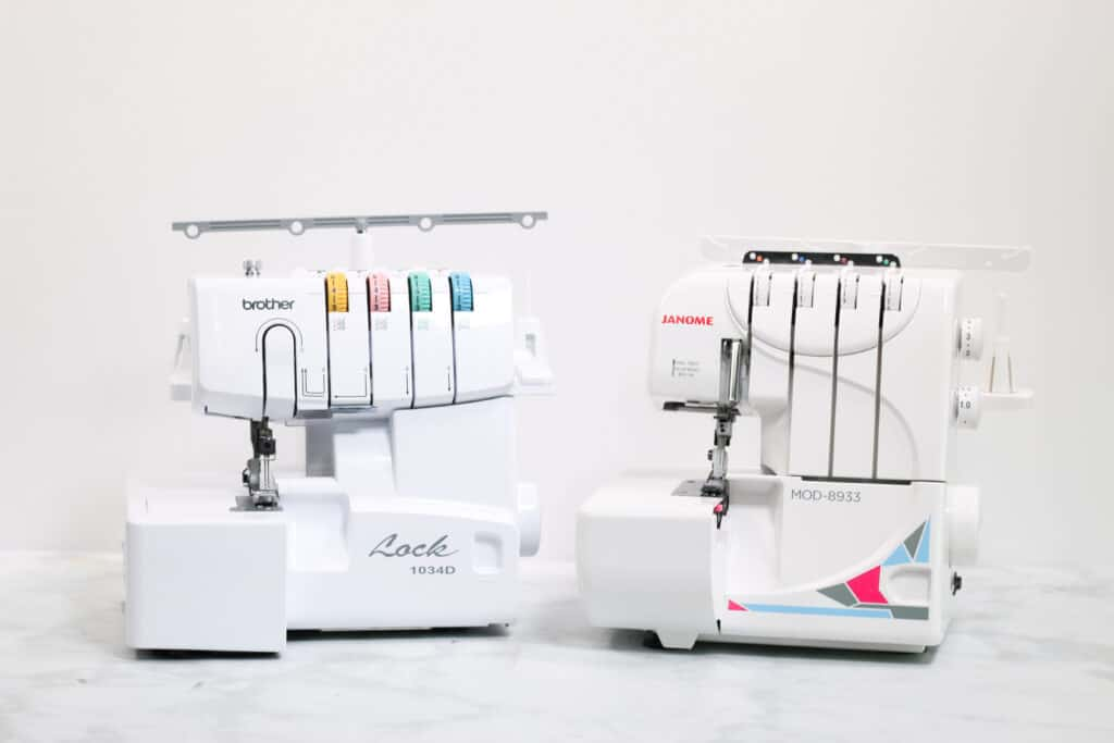 Brother 1034D Serger and Janome MOD-8933 Serger   Serger VS Sewing Machine by popular US sewing blog, Sweet Red Poppy: image of a brother Lock 1034D serger and Janome serger.